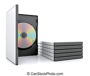 DVD in case with a stack of cases