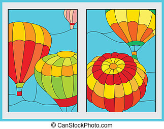 air balloon 	 - large balloons of different colors