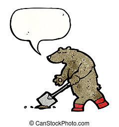 cartoon bear digging