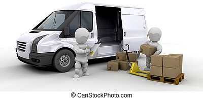 Loading a van - Workers loading a van with boxes