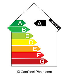 energy house - Single illustrated energy house rating with...