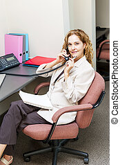 Businesswoman on telephone at office desk