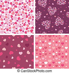 Set of four romantic hearts seamless patterns backgrounds -...