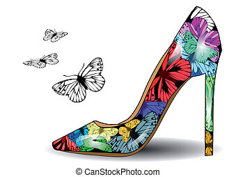 Shoe with butterflies - Women's shoe with colorful...