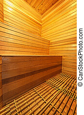 Sauna interior - Finnish home sauna interior with wooden...