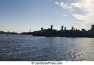 The military ships at the mooring - The military ships lie...