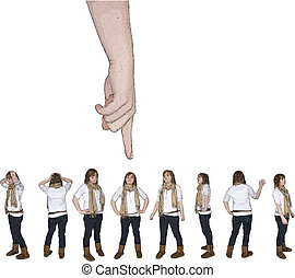 one person in a crowd - vector illustration of hand from...