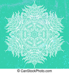 Mandala design in white on aqua green