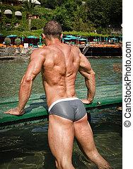 espalda, joven, Océano, mar,  bodybuilder's, o, guapo