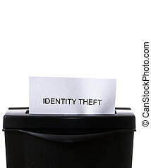 Identity Theft - Concept image of a shredder destroying...