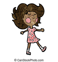 pretty girl walking cartoon