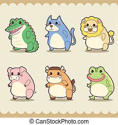 retro cute animals set.