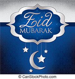 Ramadan Kareem - Eid Mubarak Blessed Eid hanging moon card...