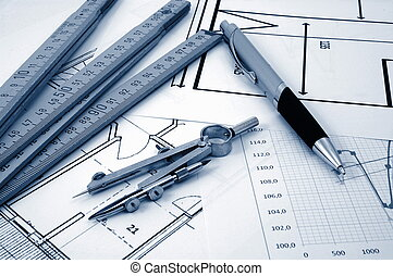 architectur plans of residential real estate - plan of...