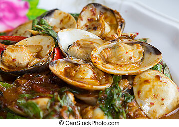 Stir fried shellfish with chili sauce
