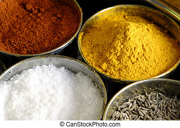 Masala Assorted Condiments and Spices Box - A container...