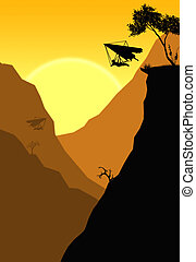 Glider by the cliff - Illustration of a hang glider jumps...