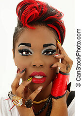 Beautiful Colorful Black Woman Face, Manicure, Designer...