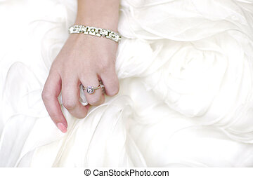 Ring of Bride Against Her Dress With Copy Space