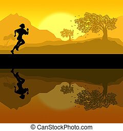 Woman jogging - Illustration of a women in silhouette...