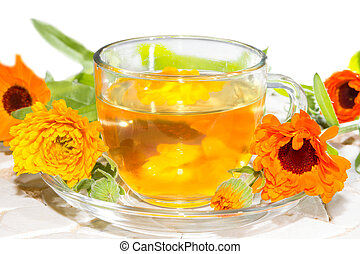 Herbal tea made from Calendula officinalus, or the Pot...