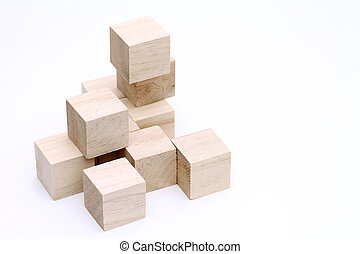 Wooden toy blocks - stack of wooden toy blocks on white...
