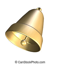 3D golden bell  on white background