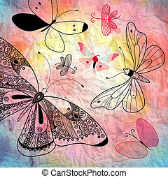 background with butterflies graphics - beautiful bright...