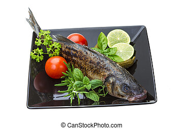Roasted seabass with rosemary and herbs