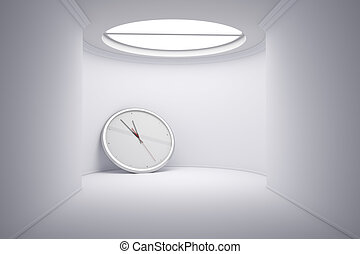 Time concept with big clock leaning on wall