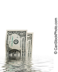 Dollar bills in water - two one dollars bills with water...