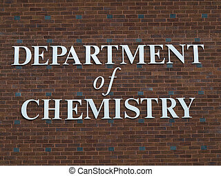 Department of chemistry sign on red brick wall