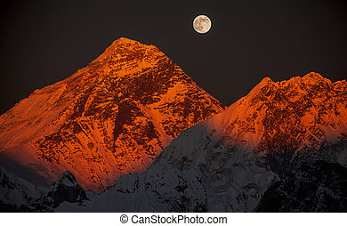 Peak Everest on a sunset in a full moon - Peak Everest 8848...