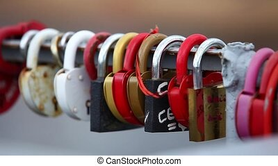 Love Padlock - HD1080: Love padlock on the railing of the...