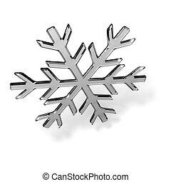 Glass snowflake - Gray glass snowflake on white