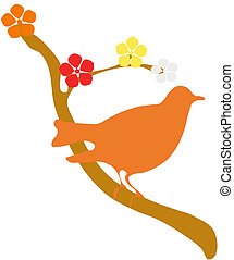 Bird with flowers - Vector illustration of birds and flowers