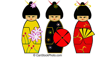 Kokeshi - Vector illustration of kokeshi dolls