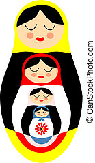 Matryoshka - Vector illustration of Matryoshka russian dolls