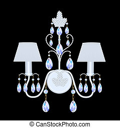 sconces with crystal pendants on black - illustration...