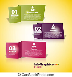 Modern business paper cut infographics element origami