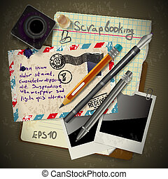 Vintage scrapbook with old style postage design elements