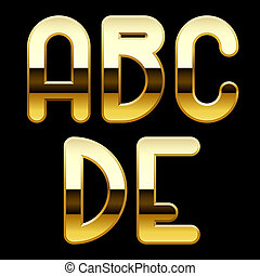 Gold alphabet letters - Isolated raster version of vector...