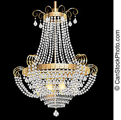 chandelier with crystal pendants on the black - illustration...