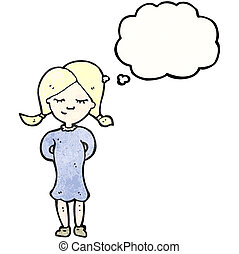 cartoon blond girl thinking