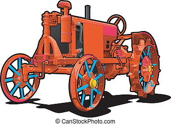 tractor - Vector color illustration of red tractor. Simple...