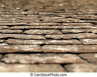 Old black tiles roof