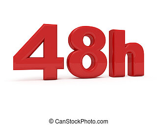 48 hours service - 3d image of 48h on white background