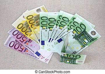 euro, valuta, soldi