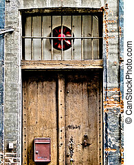 Vintage door in the street of Toulouse in France HDR...
