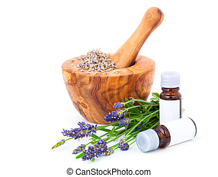 Lavender o, over a white background - Lavender oil, over a...